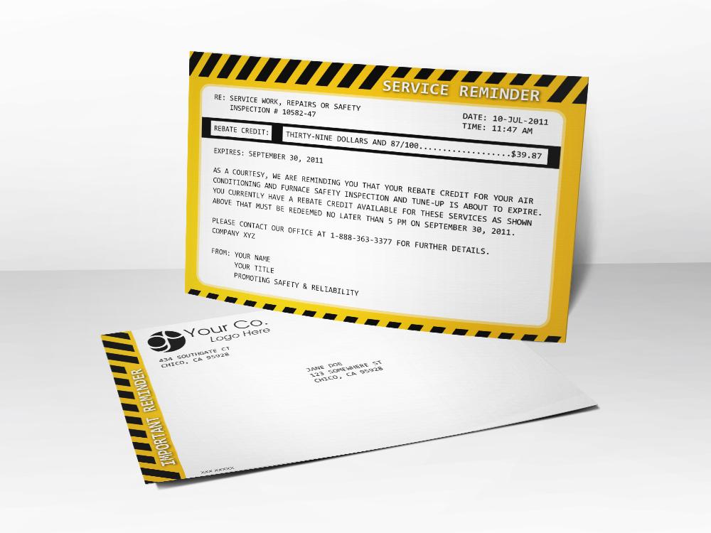 An HVAC marketing postcard with service reminder language.