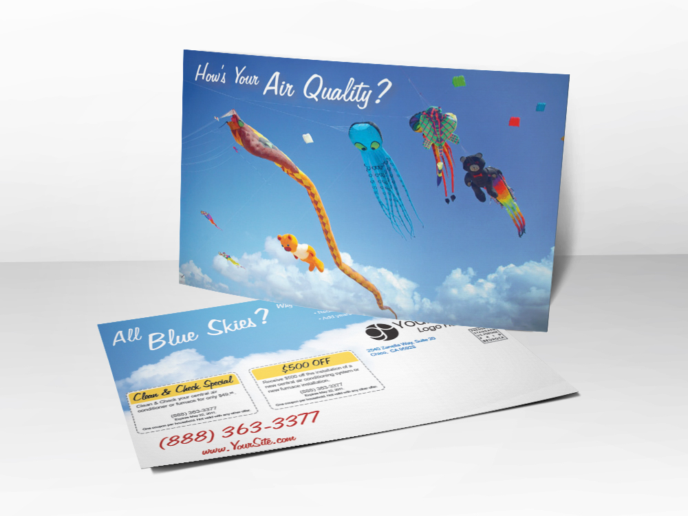 An HVAC marketing postcard with a picture of kites flying on a clear blue sky day representing good air quality.