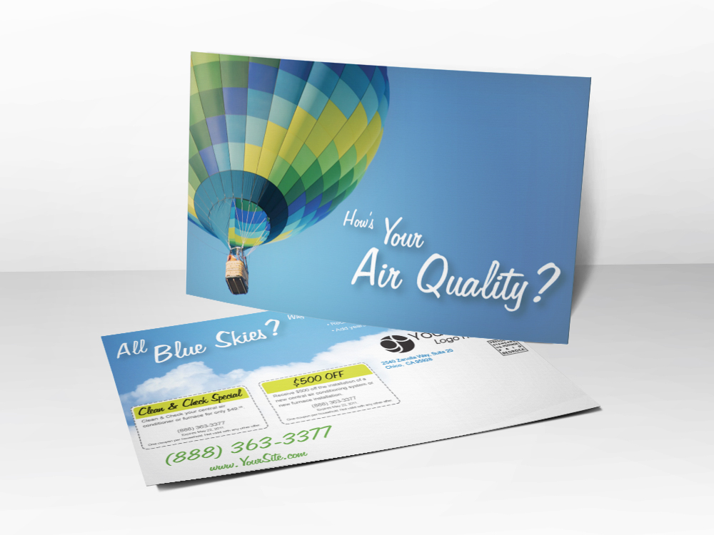 An HVAC marketing postcard with a picture of a hot air balloon on the front and air quality language on the back.