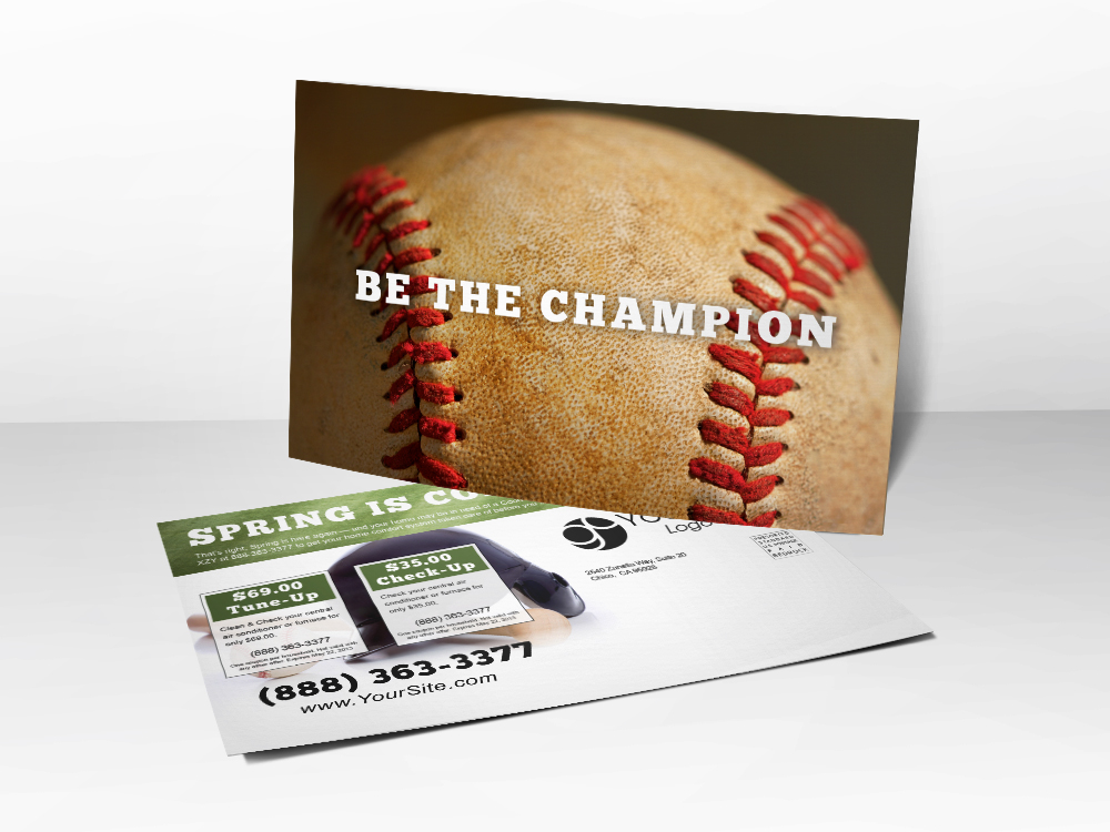 An HVAC marketing postcard for Spring with a picture of a baseball on front.
