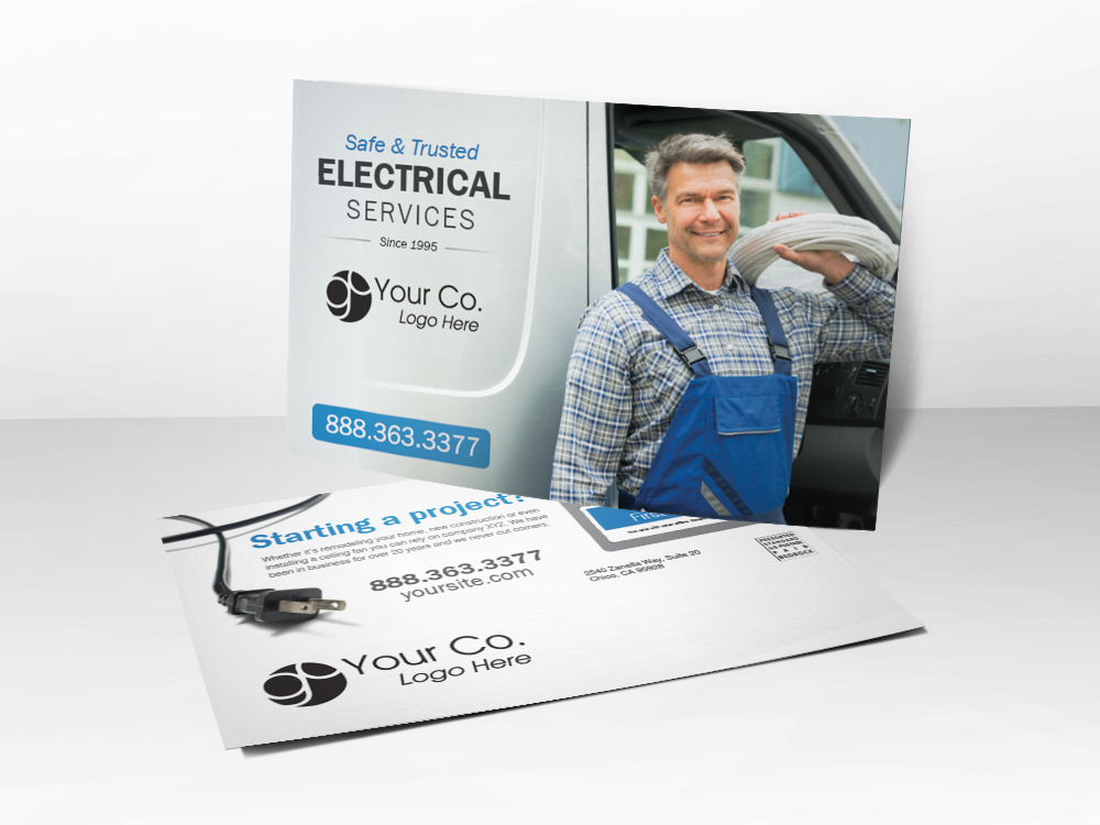 A marketing postcard for electricians with a picture of an electrician holding a bundle of wires standing next to his truck and coupons for inspection and repair on the back.