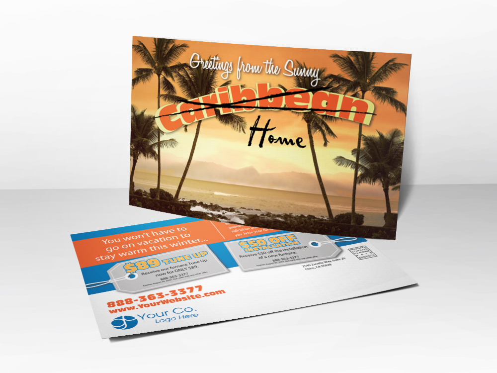 An HVAC marketing postcard for Winter with a picture of palm trees and the ocean on front and tune-up and installation coupons on the back.