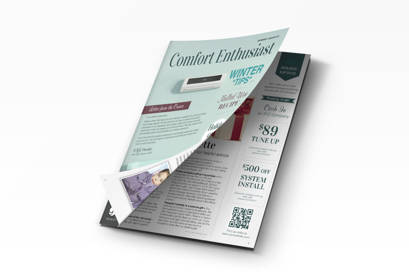 An HVAC marketing newsletter with winter themes and HVAC coupons.