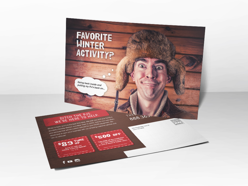 An HVAC marketing postcard with a goofy picture of a man wearing a cold weather hat wanting to go inside where it's nice and warm because of a working furnace.
