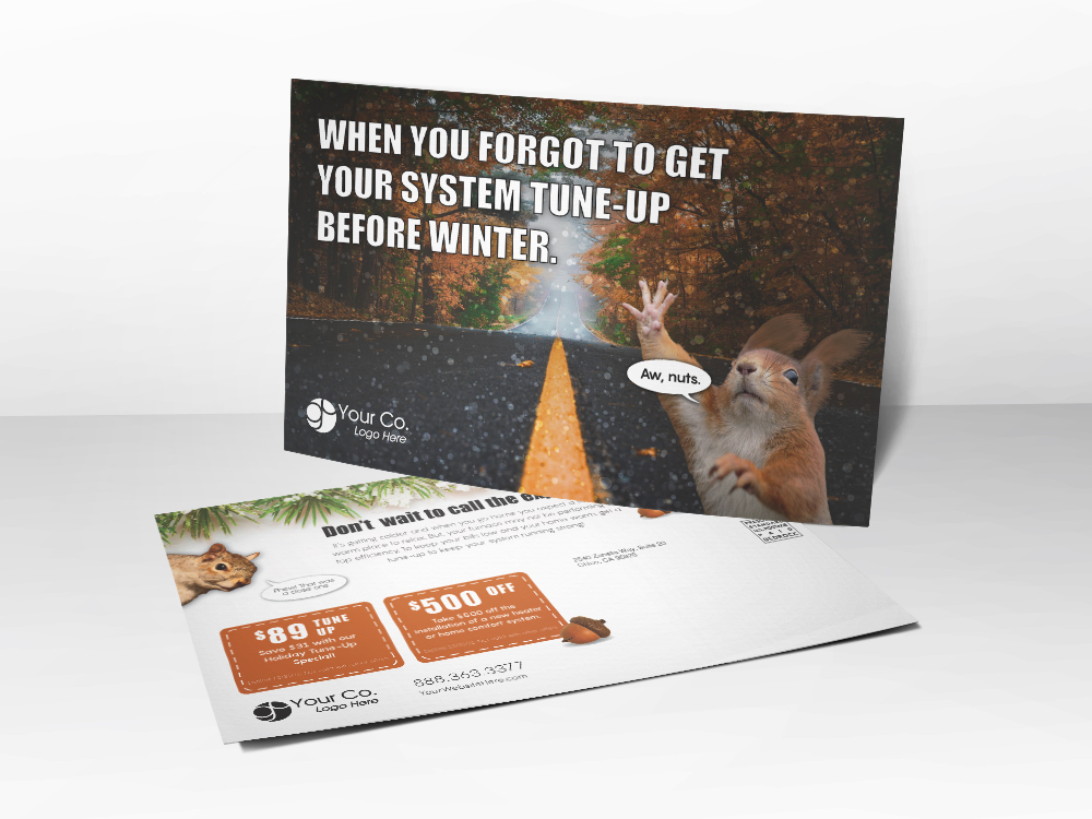 An HVAC marketing postcard with a picture of a squirrel on it regarding a system tune-up before winter.