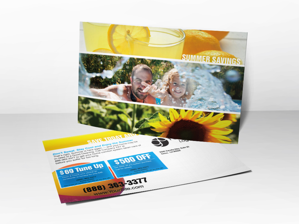 A marketing postcard for HVAC companies with different pictures representing summer including a picture of lemonade, a father and daughter swimming, and a sunflower.