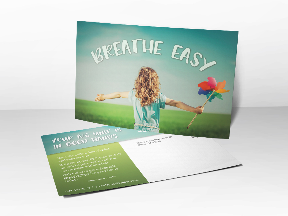 A marketing postcard for HVAC companies about air quality with a picture of a girl holding a pinwheel looking over an open meadow.