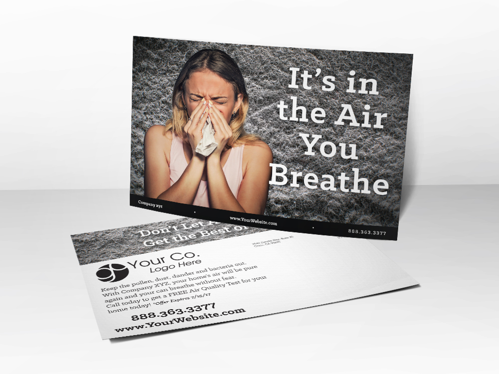 A marketing postcard for HVAC and Air Quality companies with a picture of a lady blowing her nose on it with dust particles in the background.