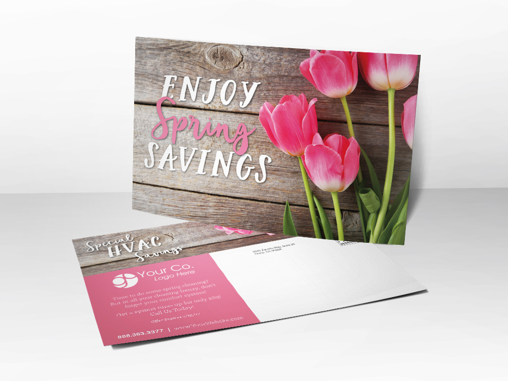 A marketing postcard for HVAC companies with a picture of pink flowers on it representing spring.
