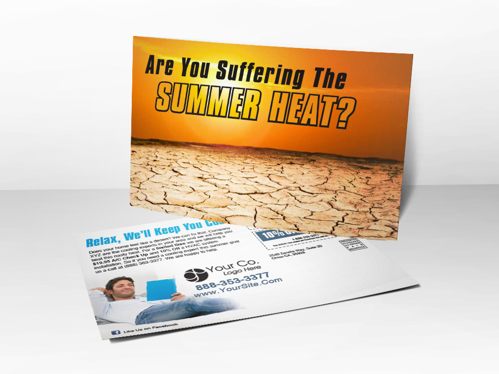 A marketing postcard for HVAC companies with a picture of the desert baking under the sun.