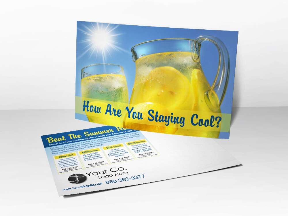An HVAC marketing postcard for HVAC companies that has a picture of a pitcher of lemonade and a bright sun.