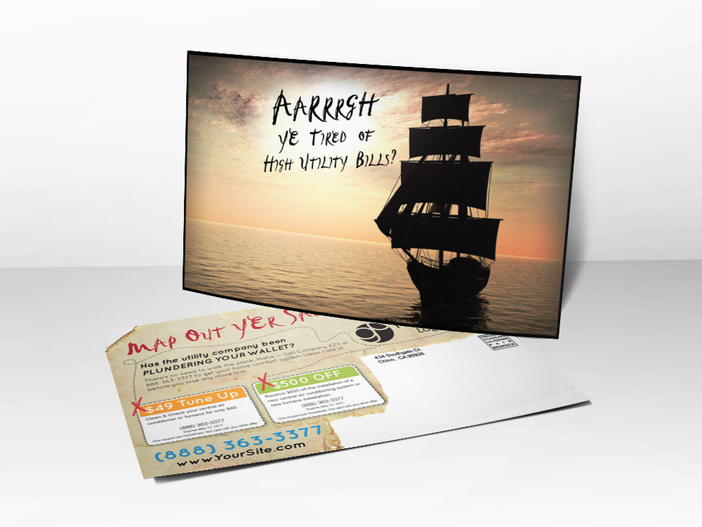 "Ad advertising postcard for HVAC companies with a picture of a pirate's ship with the line ""aarrrgh ye tired of high utility bills?"""