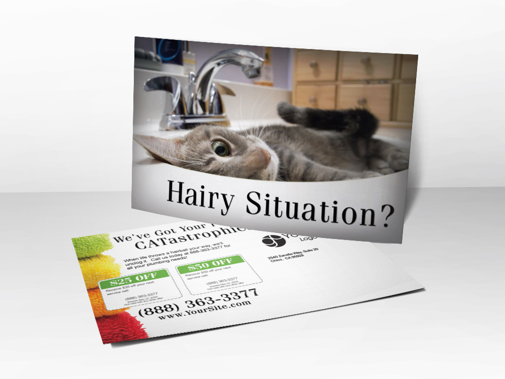 An advertising postcard for plumbing companies with a picture of a hairy cat laying in a sink.