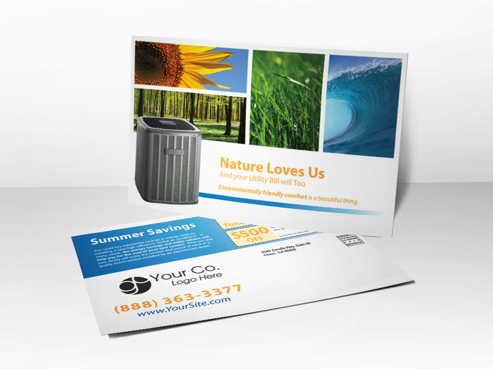 An advertising postcard for HVAC companies with pictures representing the different seasons including a sunflower, dewy grass, an ocean wave, and a forest.