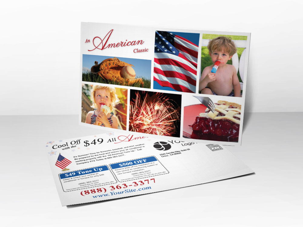 An HVAC marketing postcard for HVAC companies with different pictures representing summer on it including the American flag, a baseball glove and ball, a boy eating a popsicle, a girl eating an ice cream cone, fireworks, and cherry pie.