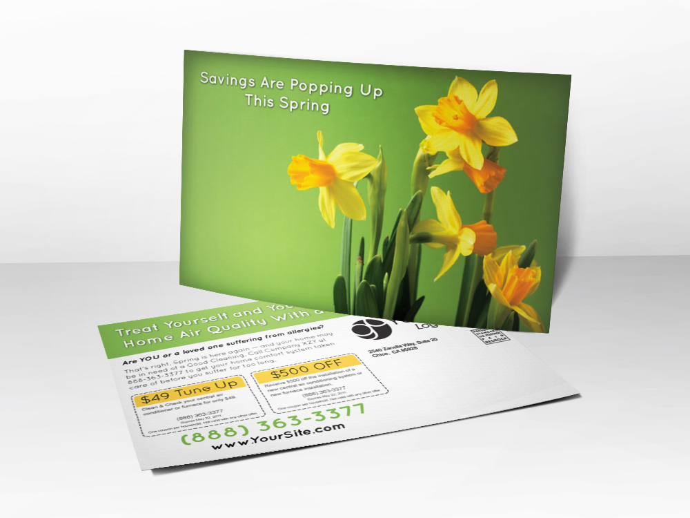An advertising postcard for HVAC companies with a picture of daffodils on it.