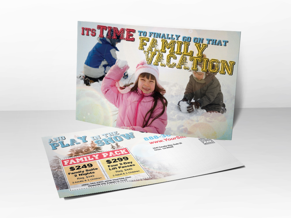 An advertising postcard for ski resorts that has a picture of kids playing in the snow on it.