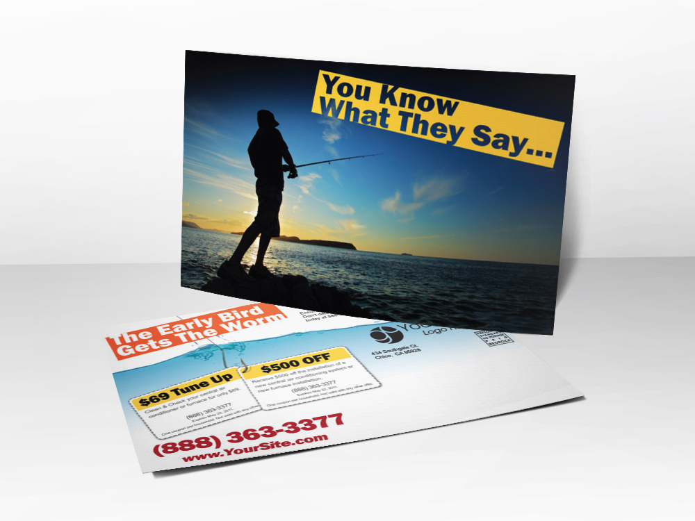An advertising postcard for HVAC companies with a picture of a man fishing representing the early bird getting the worm.
