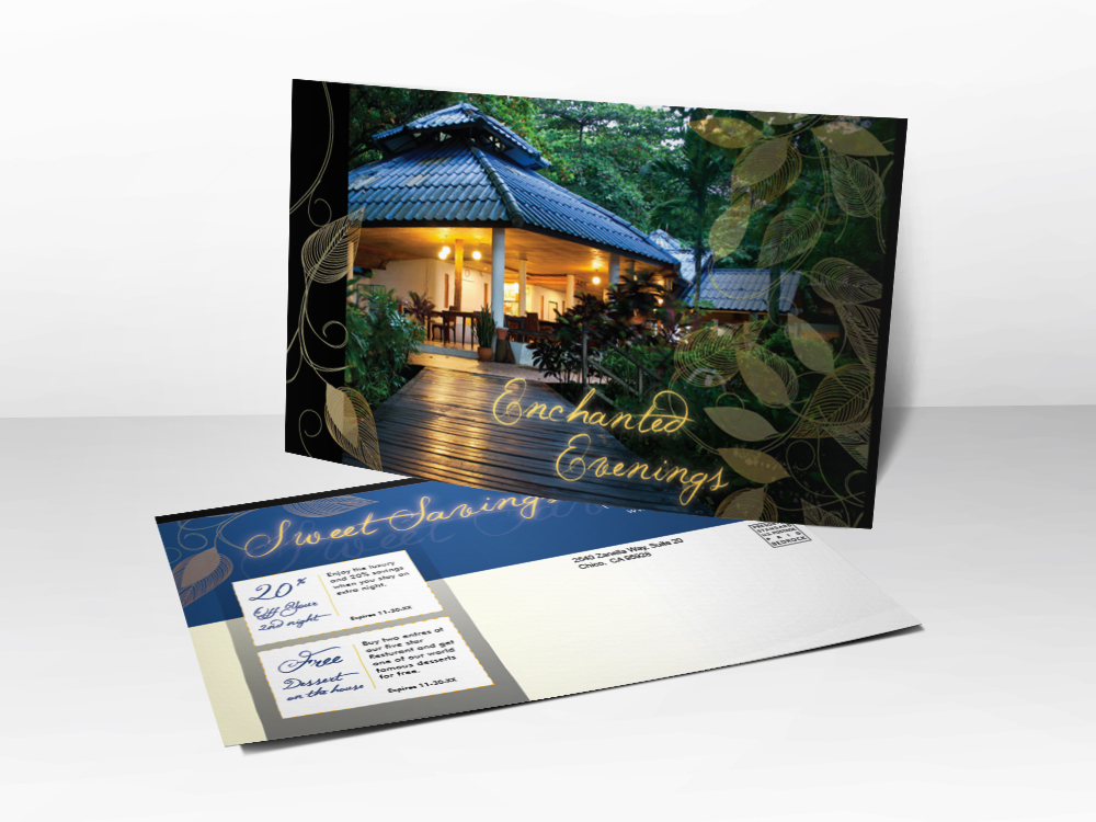 An advertising postcard for hotels or resorts with a picture of an outside cabana in the forest with lights on.