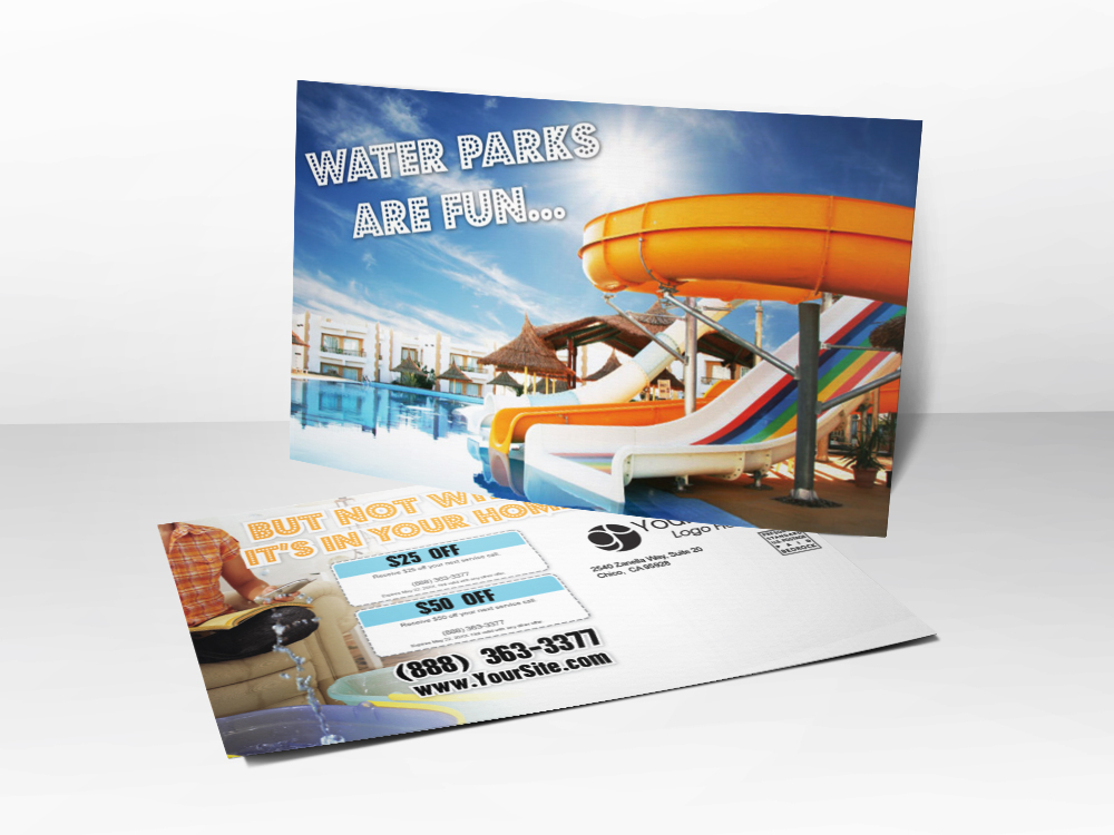 An advertising postcard for plumbing companies with a picture of a water slide on it and leaks coming from a house.