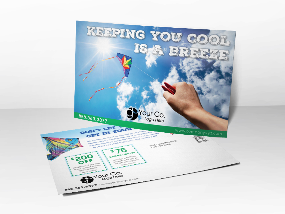 An HVAC advertising postcard with a kite blowing in the cool wind on a sunny day.