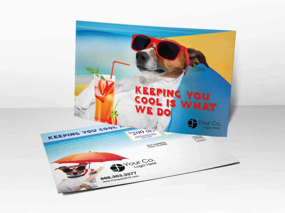 An HVAC marketing postcard for HVAC companies with a picture of a dog relaxing with sunglasses and strawberry lemonade.