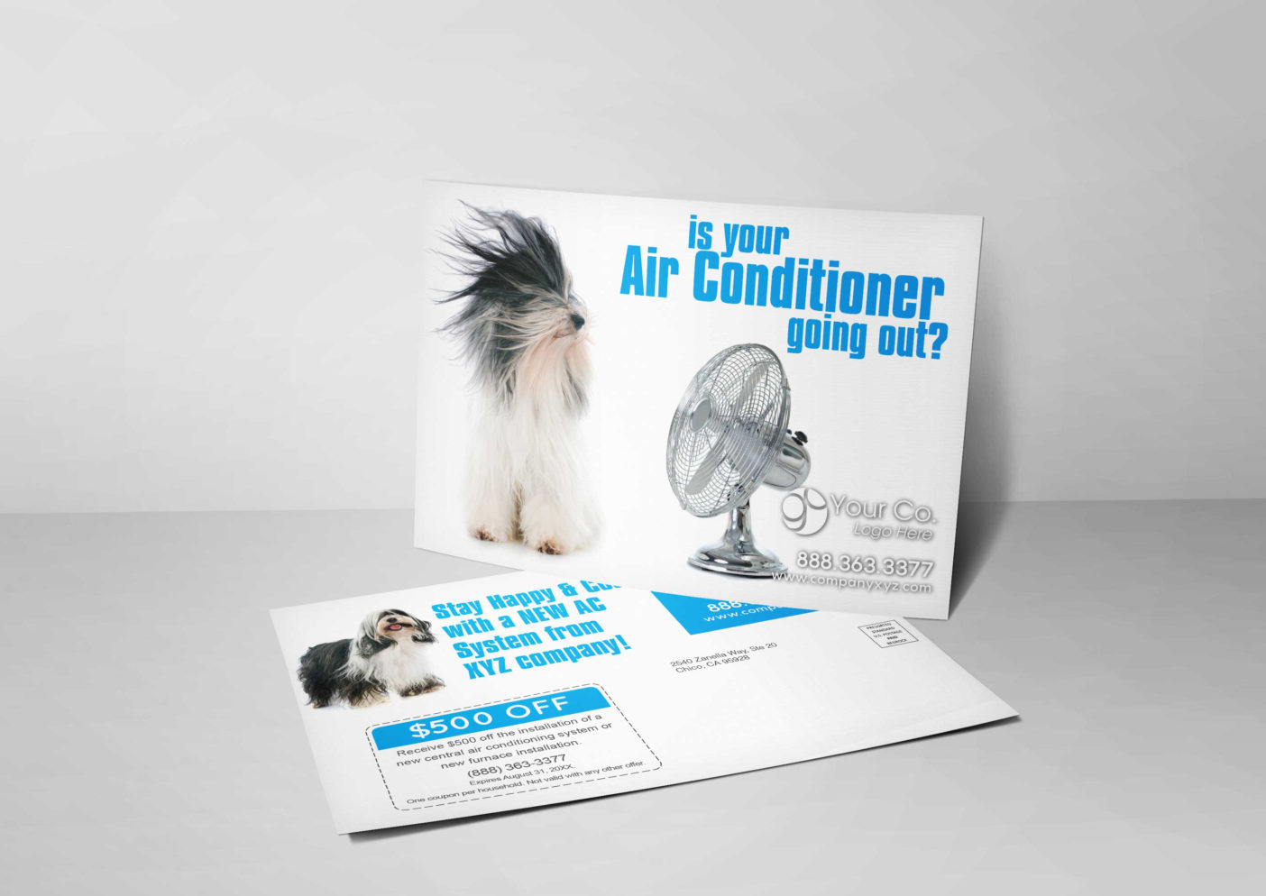 An HVAC marketing postcard for HVAC companies with a picture of a dog relaxing with a fan blowing air.