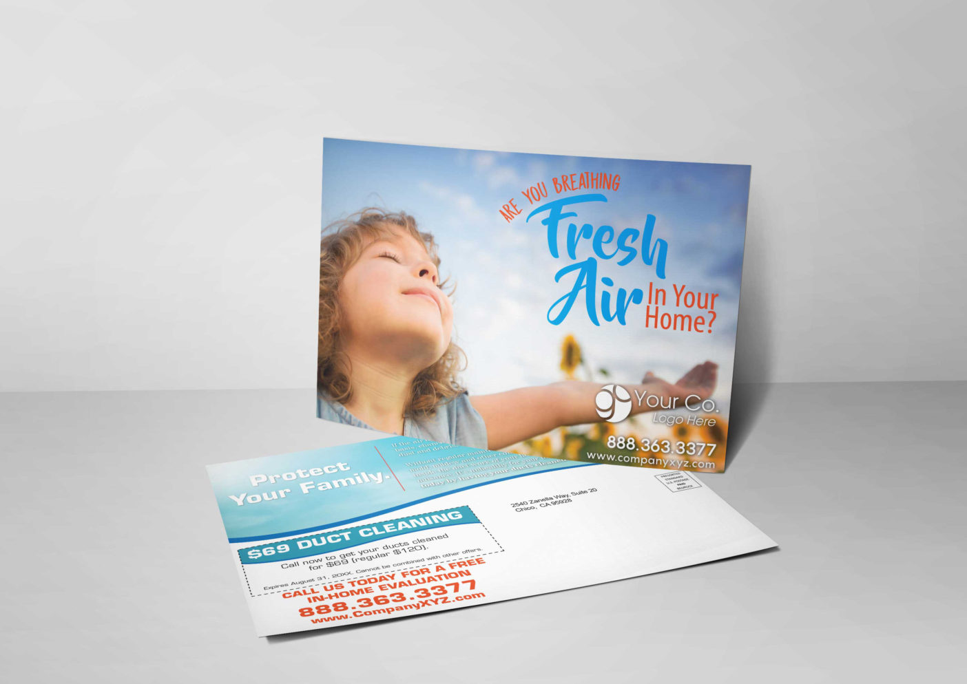 An HVAC marketing postcard for HVAC companies with a picture of a girl breathing fresh air.
