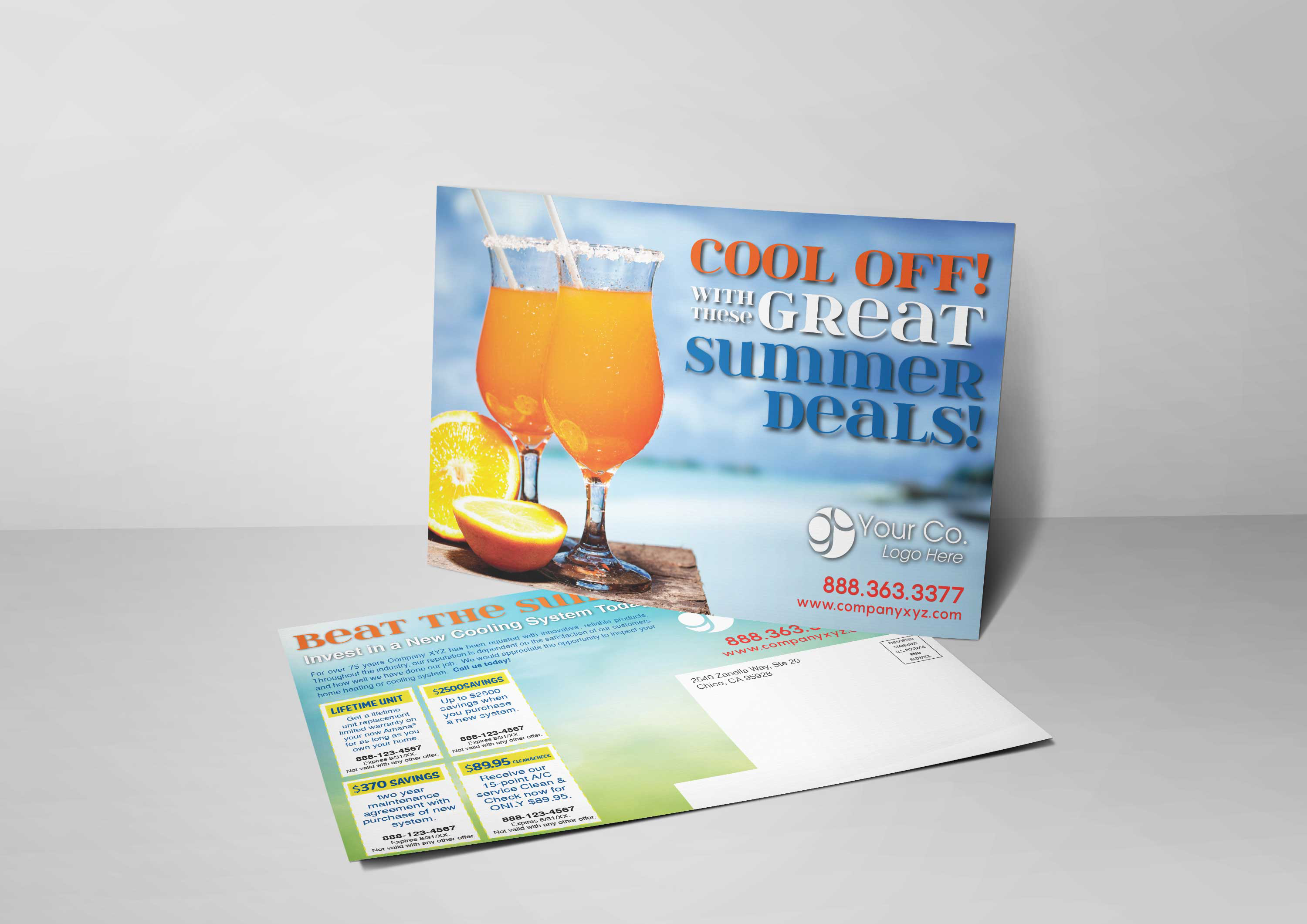 An HVAC marketing postcard for HVAC companies with a picture of margaritas on a hot summer day