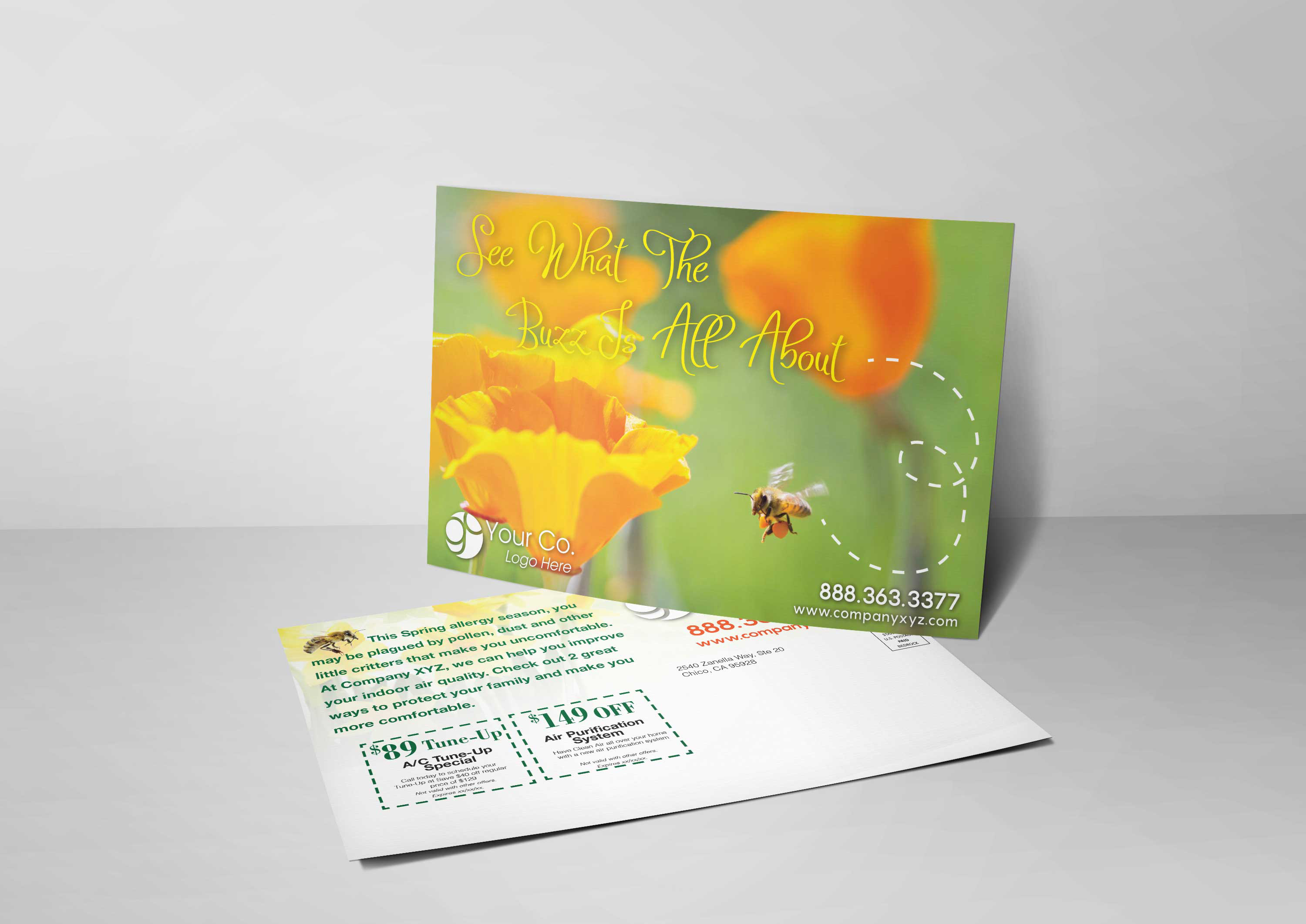 An HVAC marketing postcard for HVAC companies with a picture of a bee buzzing flowers in the summer.